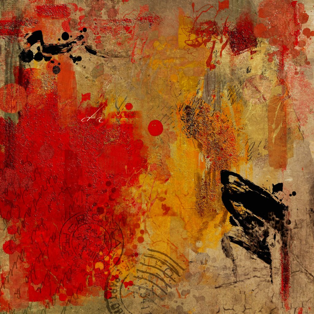 A painterly abstract of bold reds and yellows with black accents