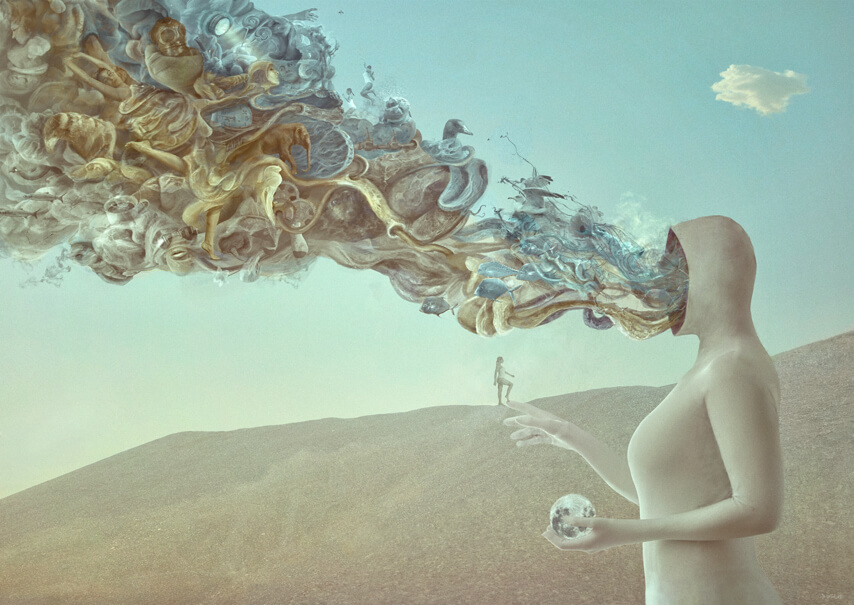 A strange creature stands in a desert; its face is replaced by a stream of smoke-like images representing thoughts
