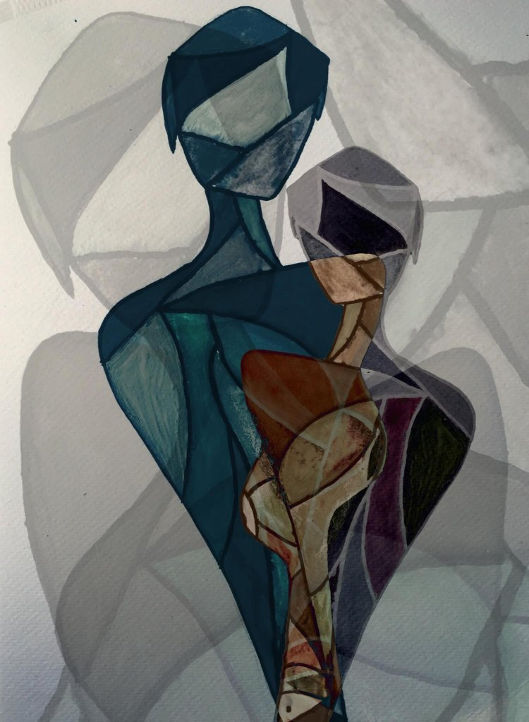 An abstract of two figures representing a couple embraced