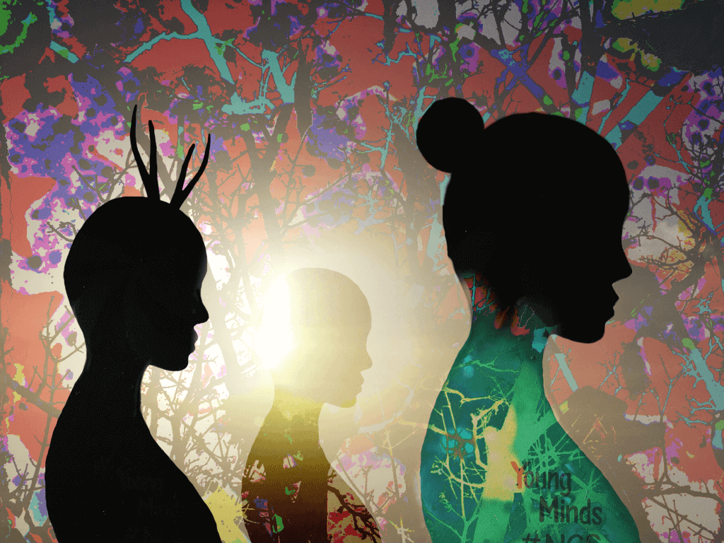 A dreamland abstract of three women in silhouette on a psychedelic backdrop
