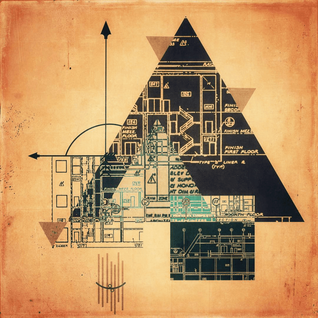 Digital Fusion Abstract: A pyramid shape overlaid by an arcane set of patterns