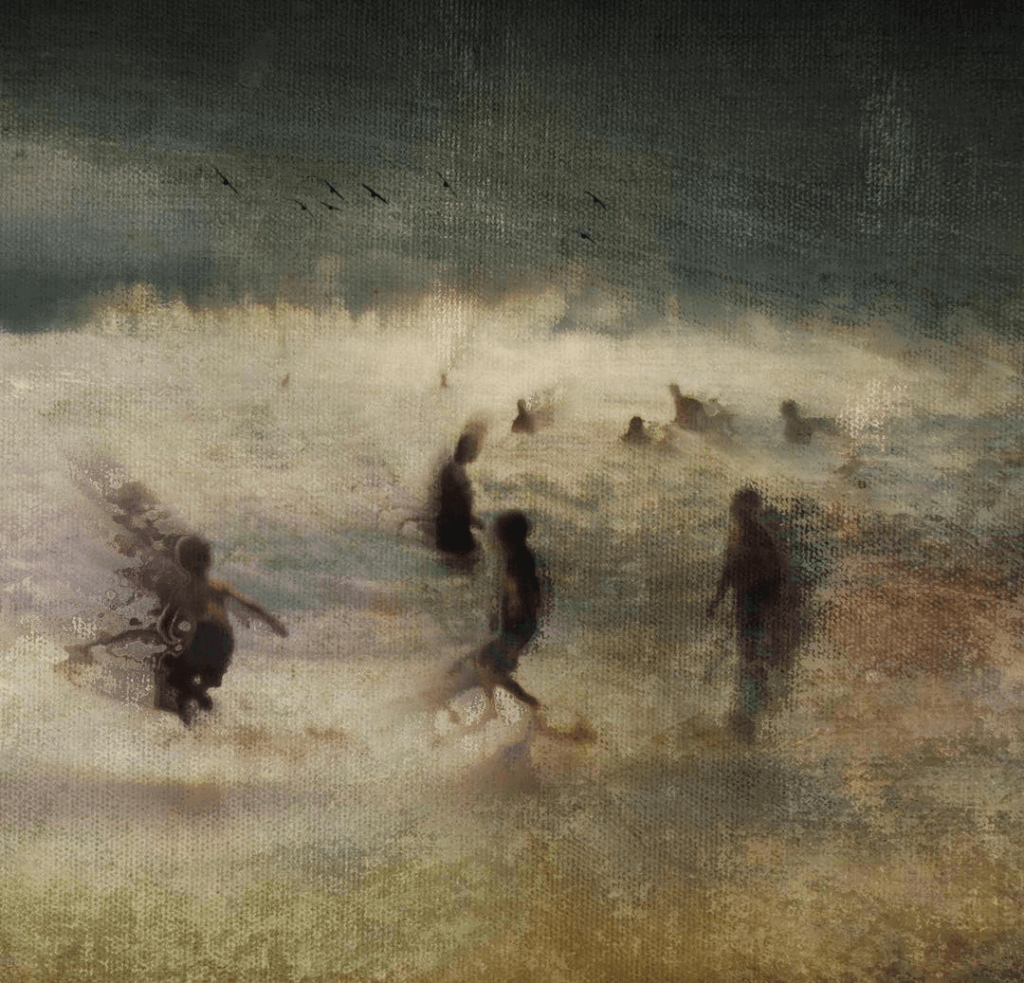 Swimmers in the sea edited in an impressionistic style
