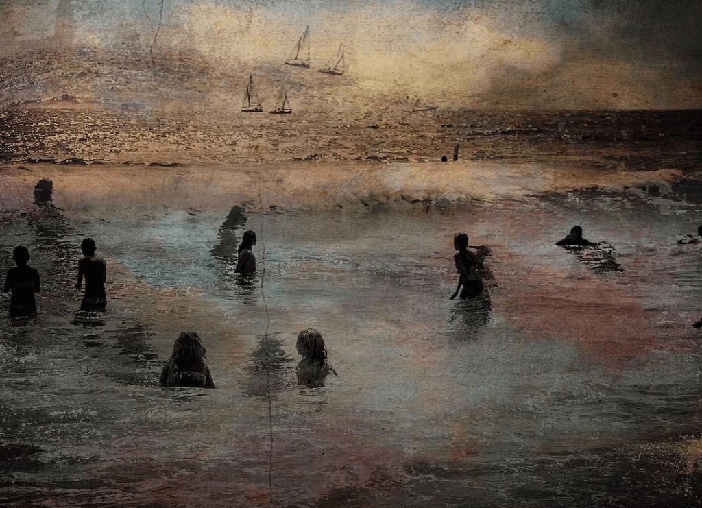 Swimmers in the sea in an impressionistic style