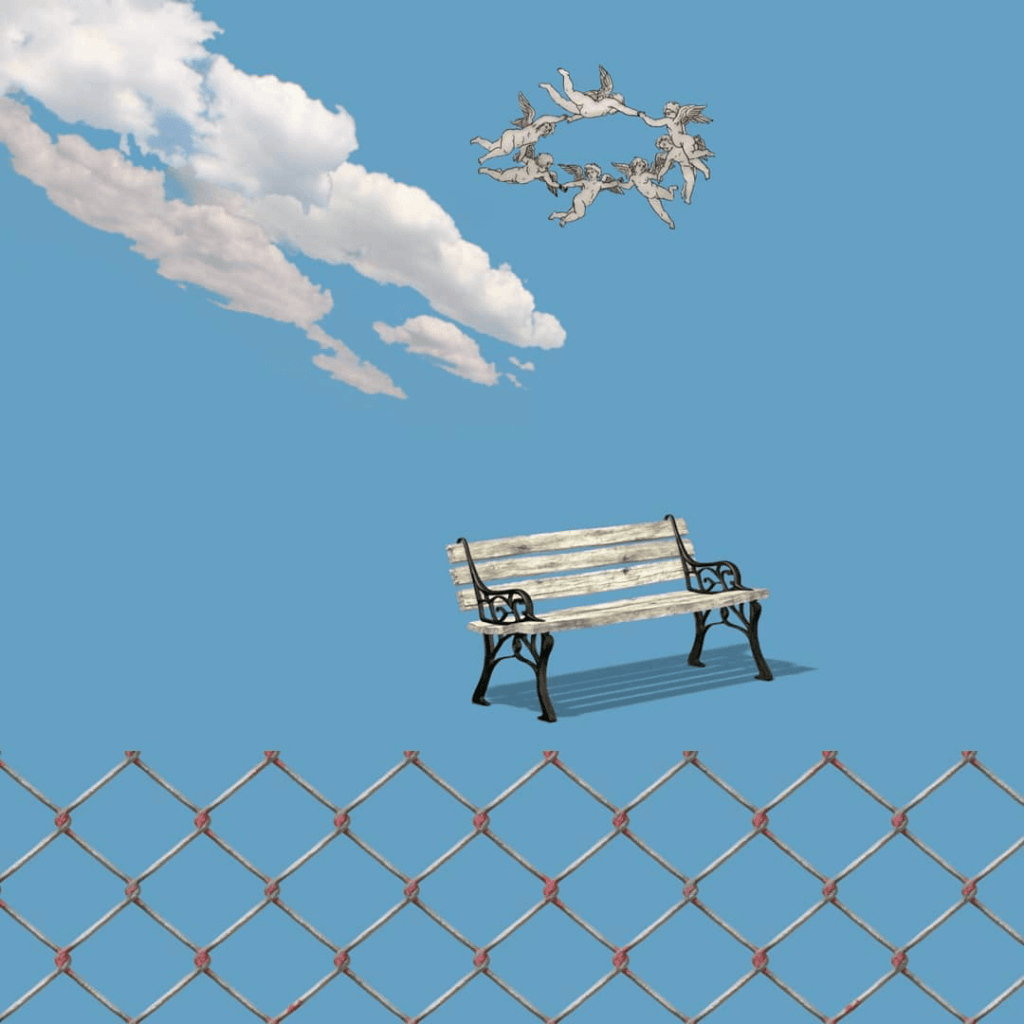 Pop Surrealism: A solitary park bench on a plain blue background with a ring of cherubs circling it