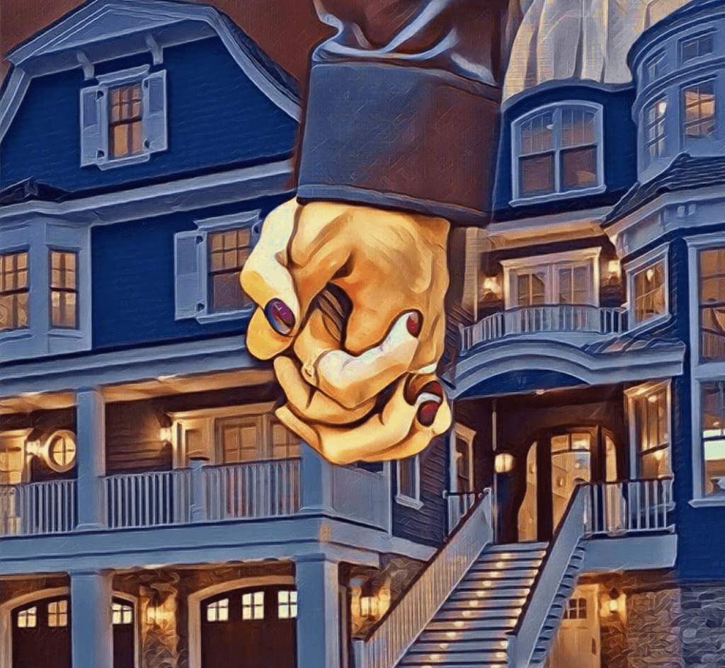 Pop Surrealism: a couple's clasped hands in front of a house