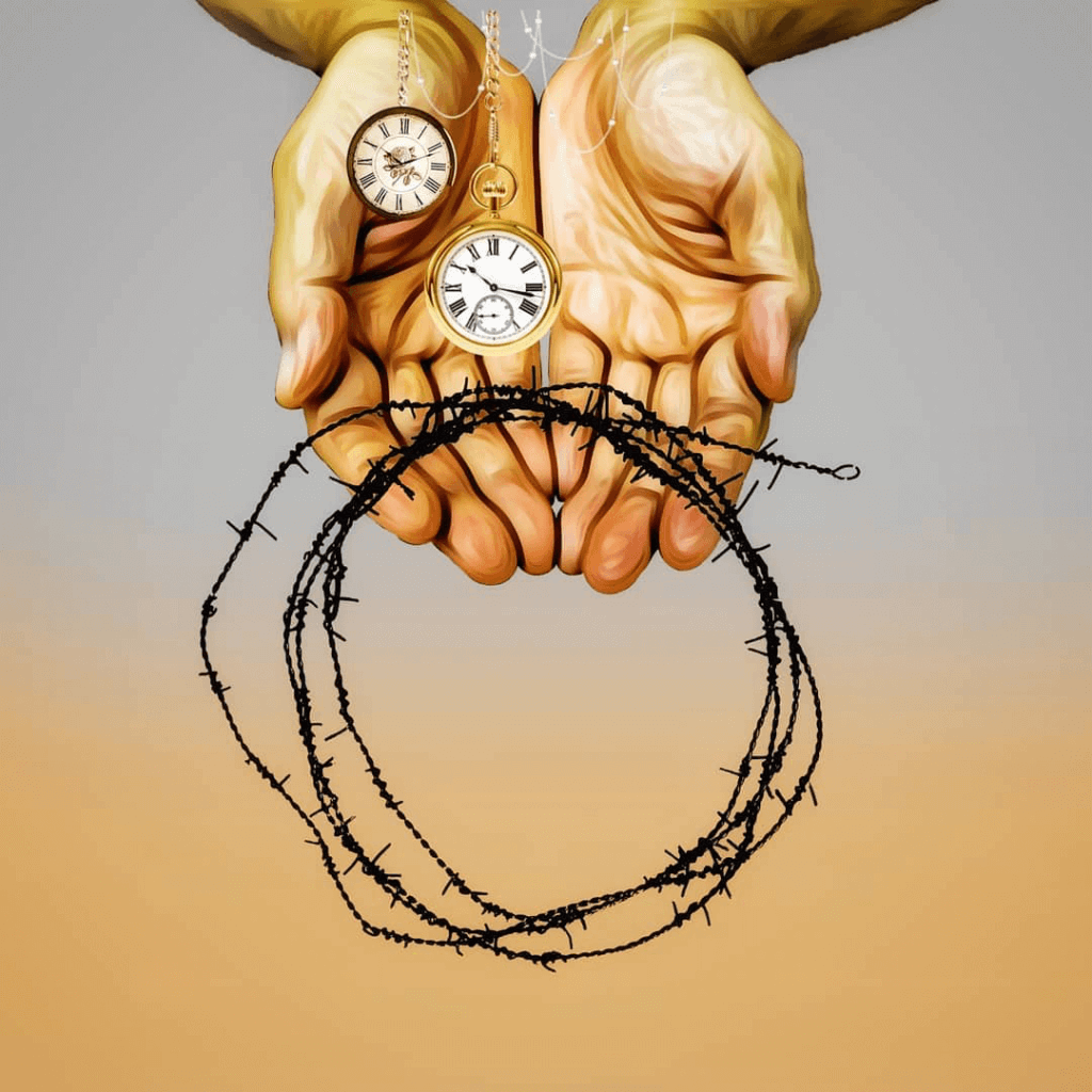 Pop Surrealism: two hands holding pocket watches and a wreath of barbed wire