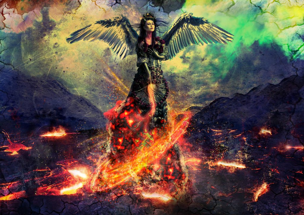 A dark and mysterious woman with wings rising up from a volcanic landscape