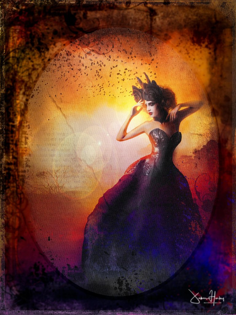 A dark and mysterious image of a woman in a ballgown in front of a fiery background