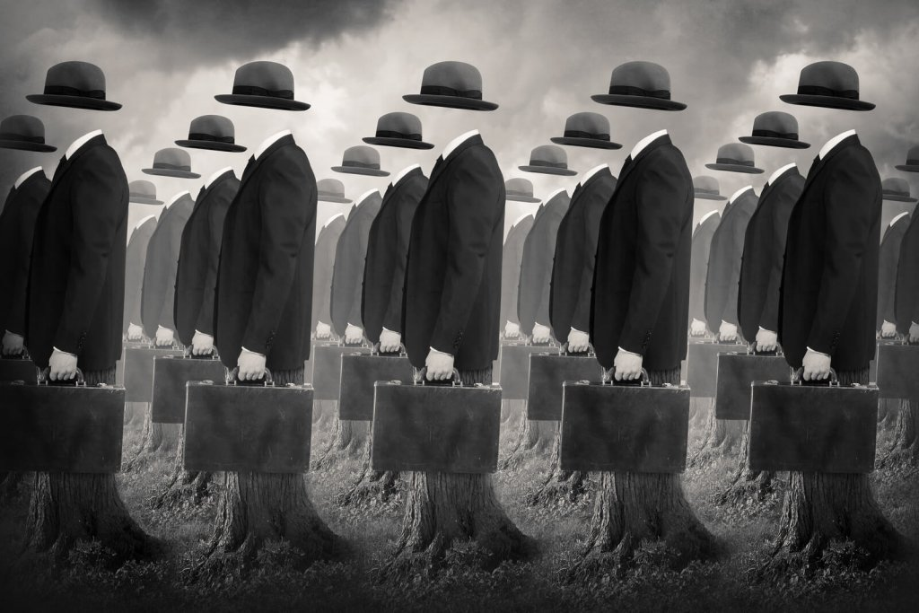 Conceptual Surrealism: Rows of businessmen with hats but no heads marching.