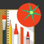 An illustration of a notebook, pens and a tomato. The app icon for Artomaton.