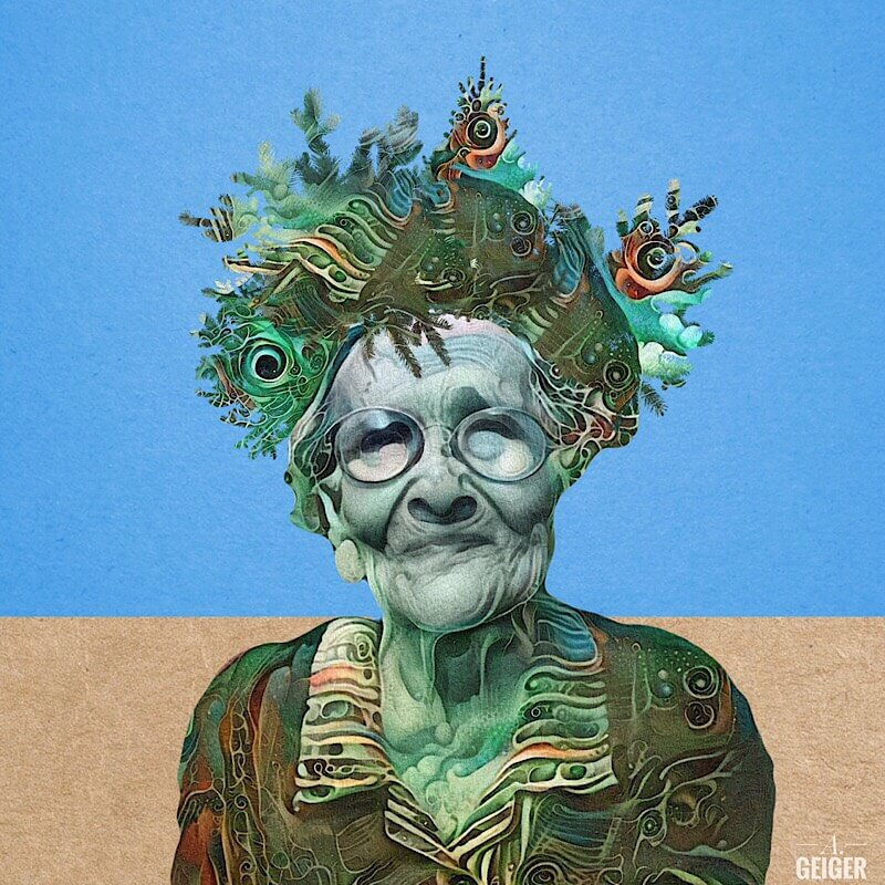An old woman in a green patterned hat by soft surrealism artist, Ashley Geiger