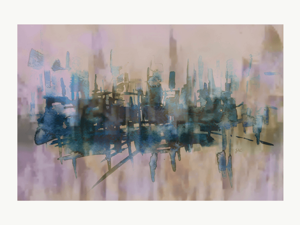 Abstract digital painting representing a city