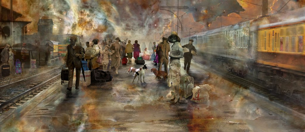 A scene of a railway station platform with people from many eras by artist Marta Żukiel