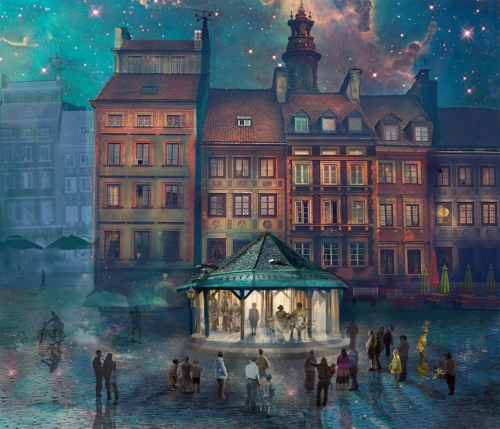 A dreamlike illustrative collage of a town square by artist Marta Żukiel